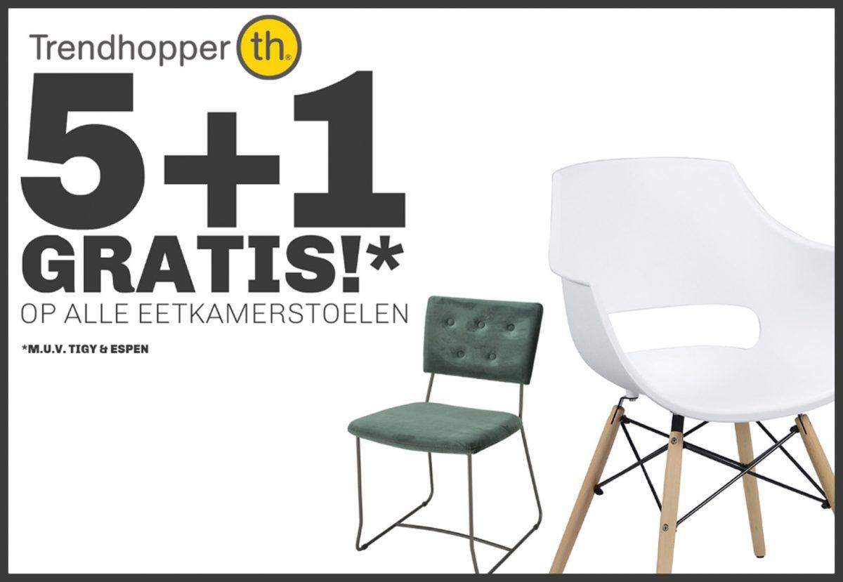 5+1 gratis op eetkamerstoelen bij Trendhopper!*